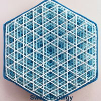 Blue Hexagon This is a royal icing piped on a sugar cookie using a PME tip No.1 It was created by piping the darkest color first and then piping each...