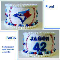 Blue-Jays Birthday Buttercream frosting with accents done in fondant for a Blue-Jays fan.