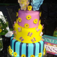 Bohemian Wedding Fun Fun cake for a Bohemian Wedding. Fondant covered with fondant accents. Topper of Gumpaste Butterflies. Groom with a fedora and Bride with...