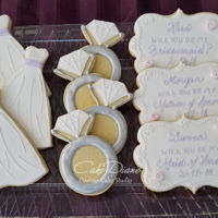Bridesmaid Invitation Cookies Dress, engagement ring and plaque bridesmaid invitation cookies.