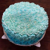 Buttercream Ombre Rosette Cake rosette cake done in blue, ombre buttercream