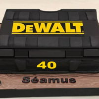 Dewalt Toolbox Cake I made this cake for my son Séamus who loves his Delwalt toolbox and gadgets! Chocolate biscuit cake covered with black fondant...