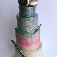 Fishing Themed Cake Rainbow trout colour cake <3 loved creating this idea. Hope you like it too.