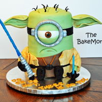 "Grumpy Yoda Minion Cake Cake for my nephew who is a big Star Wars fan. Cake is 6"" red velvet, and about 12"" high."