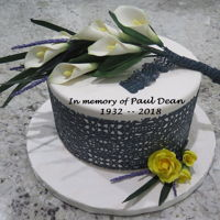 In Memory White Calla Lillies, Baby Yellow Roses, Black Lace This cake is in memory of my father who passed on recently.
