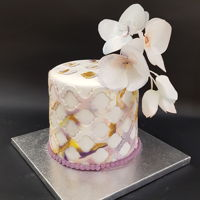 Marbeled Cake With Wafer Orchids I made this cake according to the original by chef Olga Zaytseva and her video How to make. Of course, the original is more sophisticated,...