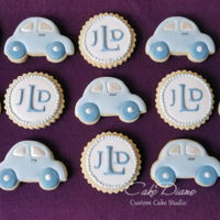 Monogram And Car Cookies For Baby Shower Blue and white monogram and tiny car cookies for baby boy.