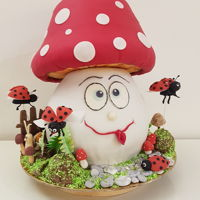 Mushroom With Flaying Ladybugs Birthday cake for Lucija. All decorations are hand made by gumpaste and wafer paper.