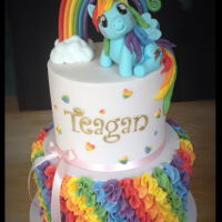 My Little Pony Rainbow Dash Cake The ruffles on this cake took forever!!! Top vanilla tier is in rainbow colours inside and the bottom chocolate tier had a load of smarties...