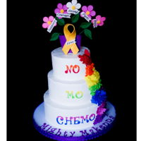 No Mo Chemo Cake This is a cake I was asked to make for Icing Smiles. The girl the cake was for designed her own cake. It is buttercream with gum paste...
