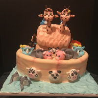 Noah's Ark Theme Cake Noah's Ark is made of marble flavored cake ,with Oreo cream cheese filling. All decorations were made out of gumpaste