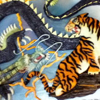 Orential (Chinese Dragon), And Tiger Birthday Cake Sheet cake frosted with dyed vanilla better cream. Images made out of modeling chocolate