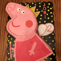 Peppa Pig Buttercream Peppa Pig with fondant accents