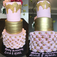 Pink And Gold Cake first time tried pillow technique ...