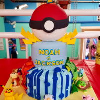 Pokemon Birthday Cake Did this for twin seven year old boys. All fondant.