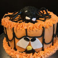 Pumpkin And Spider Theme Cake made this cake for a friend celebrating her birthday on Halloween...