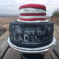 Read Across America Chalkboard cake and Dr. Suess inspired hat. Lemon cake with vanilla buttercream.