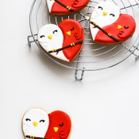 Red And White Lovebird Cookies red and white lovebird cookies - butter sugar cookies decorated with royal icing