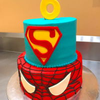 Superhero Buttercream Cake two tier cake (8x6 inch), spiderman and superman themed