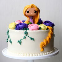 Tangled Rapunzel Birthday Cake With Buttercream Flowers tangled rapunzel birthday cake with buttercream flowers - vanilla cake filled with lemon whipped cream and fresh blueberries