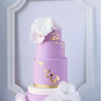 Wafer Paper Flowers Made Simple edible gold leaf, simple wafer paper flowers, lavender color, elegance and simplicity.