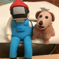 Welder And Pup I was asked to make an engagement cake. He is a welder and she is a vet tech.