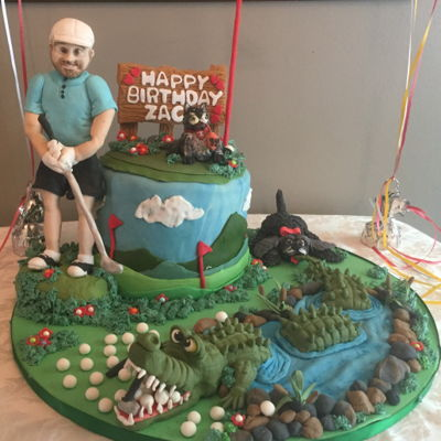Crocodile Golf Birthday Cake
