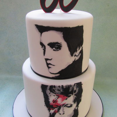 Elvis And David Bowie Cake