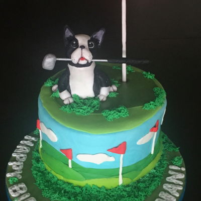 French Bulldog Golf Cake