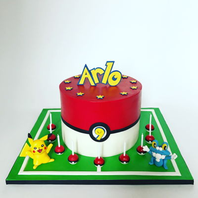 Pokemon Cake With Pikachu And Froakie (And Tons Of Pokeballs)