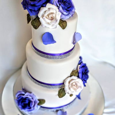 Simply White N Purple Wedding Cake