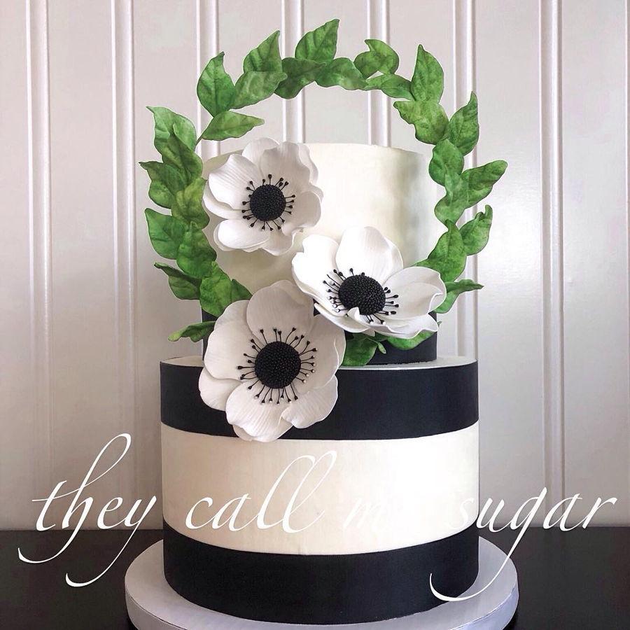 black white and green bridal shower cake on cake central