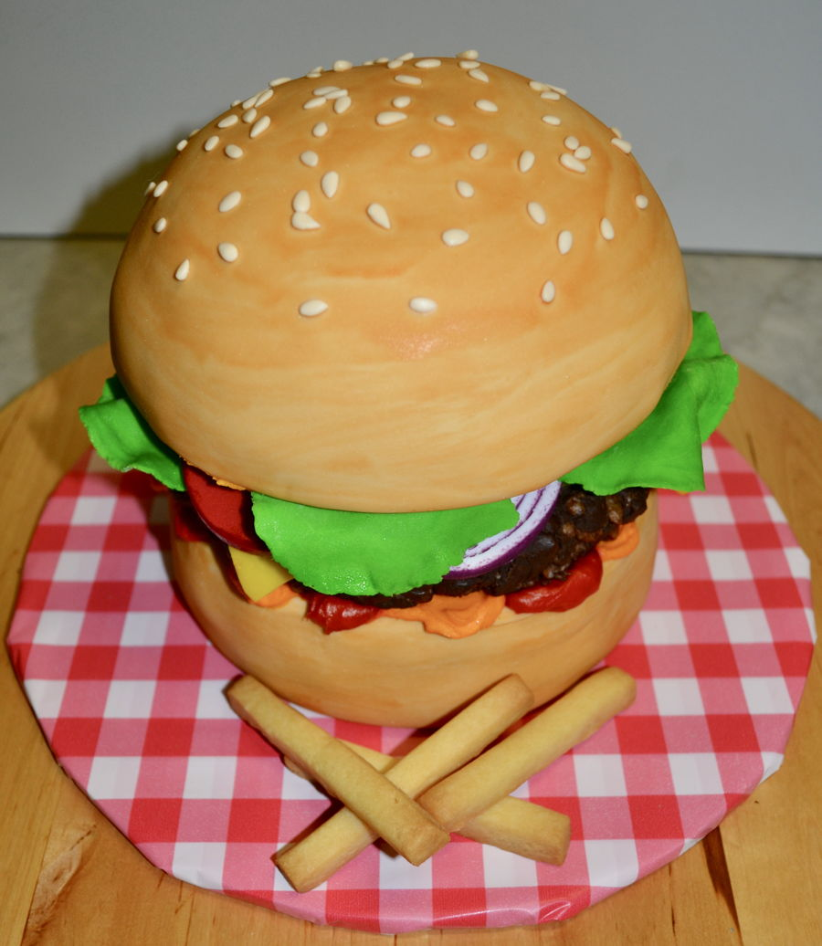 Burger & Fries on Cake Central