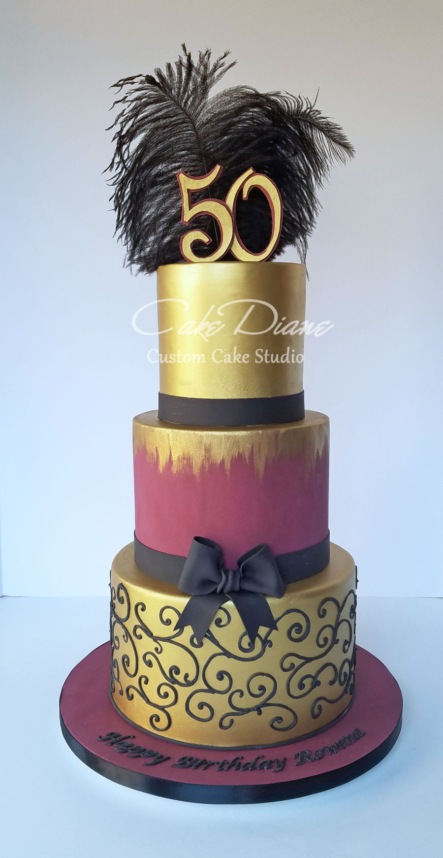 Burgundy And Gold 50Th Birthday Cake On Central