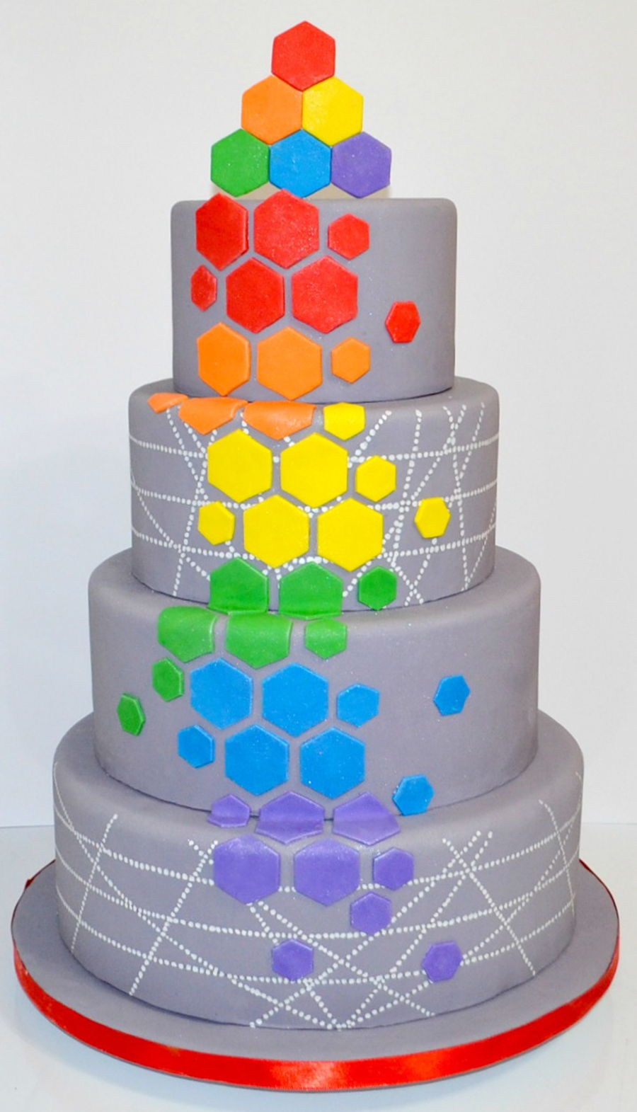 Grey And Rainbow Colored Geometric Wedding Cake on Cake Central