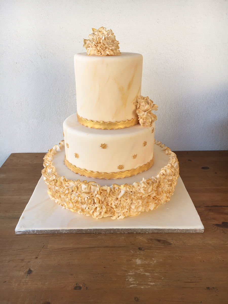 Ivory And Gold Wedding Cake - CakeCentral.com