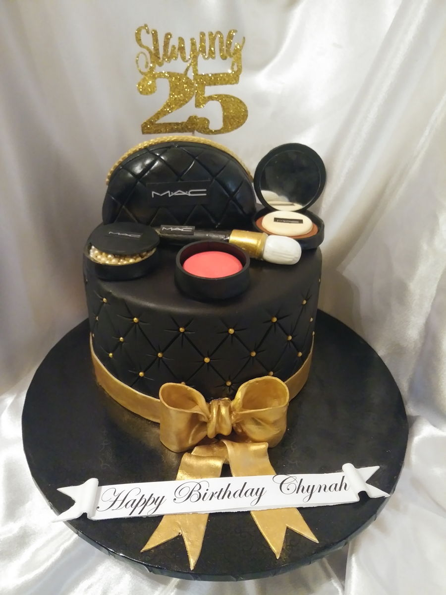 Simple Makeup Cake For A Savvy Little 25 Year Old