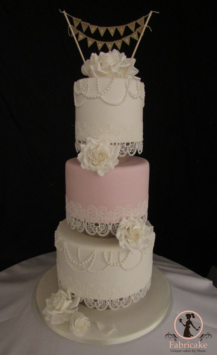Pink And White Lace Wedding Cake Cakecentral Com