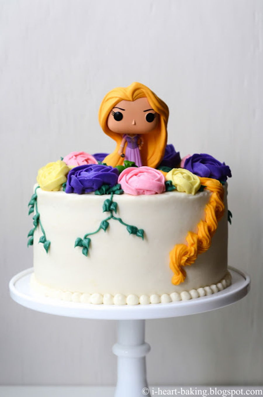 Tremendous Tangled Rapunzel Birthday Cake With Buttercream Flowers Birthday Cards Printable Inklcafe Filternl