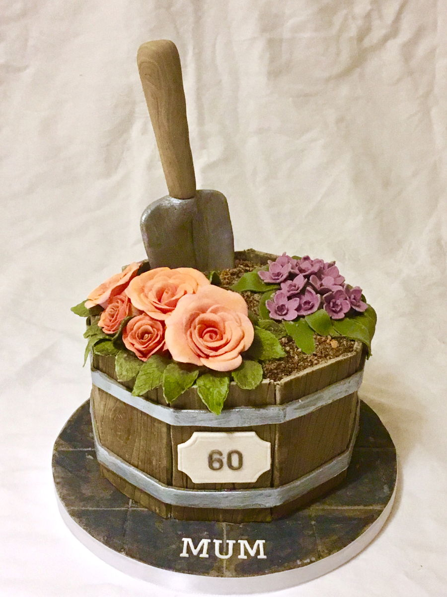 Wooden Flower Planter on Cake Central