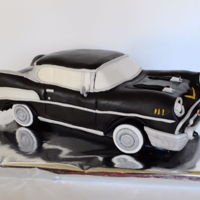 Chevy Bel Air carved cake covered with mmf and gum paste decorations