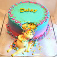 Chubby Unicorn Cake Daisy's Chubby Unicorn birthday cake! A 10 inch, Snickerdoodle and Vanilla Confetti cake with ombre buttercream, accented with some...