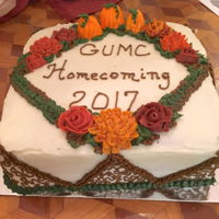 Homecoming! Carrot cake frosted and decorated with cream cheese frosting. Made this for my church's Homecoming Luncheon we had this past fall. TFL...