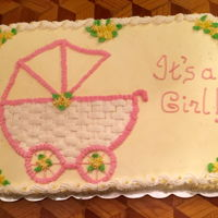 It's A Girl! Chocolate cake frosted and decorated with buttercream. Made this for a baby shower. TFL!