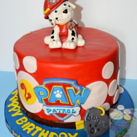 Marshal Paw Patrol cake covered with mmf and gum paste decorations