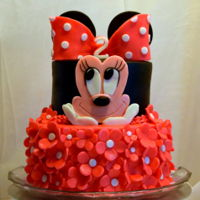 Minnie Mouse Cake Lilly's Minnie Mouse cake!! A 2 tier, 8 inch and 6 inch cake with all buttercream and candy clay details. all edible and no fondant!...