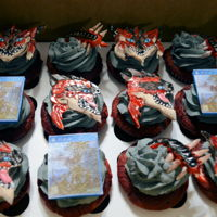 Monster Hunter Cupcakes cupcakes iced with fondant topper