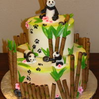 Panda Cake Panda Cake iced with Pastry Pride, used Pirouline wafers bamboo and candy melts for leaves