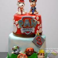 Paw Patrol cake covered with mmf and gum paste decorations