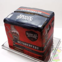 Sam Adams Octoberfest Beer Case cake covered with mmf end edible image